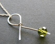 Green Ribbon Necklace in Sterling Silver - Awareness Ribbon -Bipolar Disorder, Celebral Palsy, Muscular Dystrophy, Lymphoma survivor jewelry