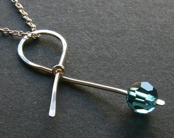 Teal Ribbon Sterling Silver Necklace . Handmade Awareness Ribbon for Cervical Cancer, Ovarian Cancer, PCOS survivor jewelry