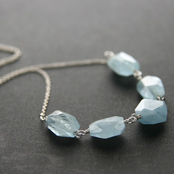 Aquamarine Nugget Sterling Silver Necklace