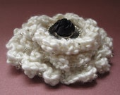 Fashion Flower Pin Accessory vintage buttons knitted Soft Ivory crystal beads ST5