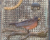 Early Robin  Antique Register Grate Assemblage