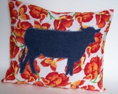 Discount clearance SALE 1/2 off  Handmade Cow Pillow Orange Poppy's Farm Throw Pillow