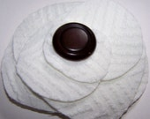 FREE SHIPPING White fabric flower chocolate brown button brooch