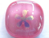 SALE - dichro flowers on pink - fused glass buttons (set of 3)