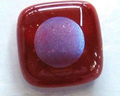 SALE - dichro dots on red - fused glass buttons (set of 3)