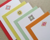 4 pk assorted custom initial flat cards