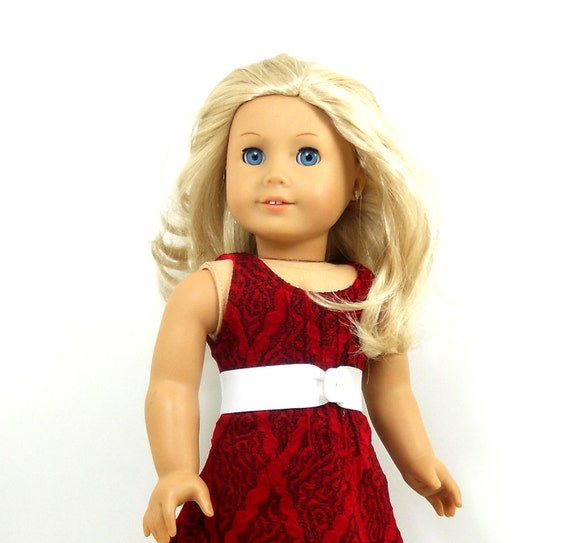 "American girl 18"" doll dress sleeveless red dress includes white belt"