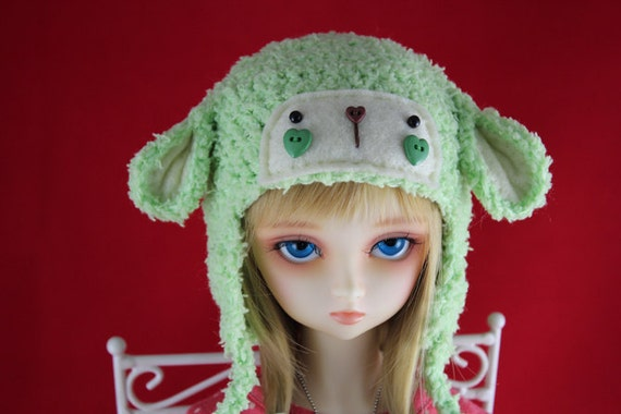 Green Crochet Lamb Hat for SD BJD, 1/3 Dollfie, Volks and Luts