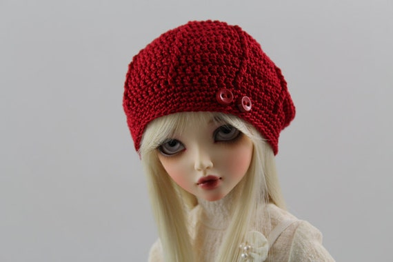 Red Crochet Hat for MSD BJD, 1/4 Dollfie, Minifee -New Style-