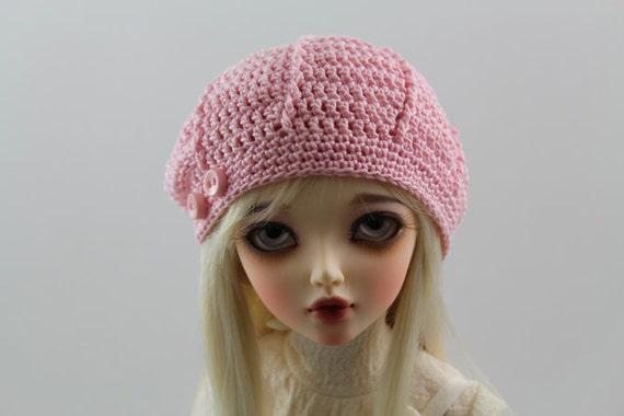 Pink Crochet Hat for MSD BJD, 1/4 Dollfie, Minifee -New Style-