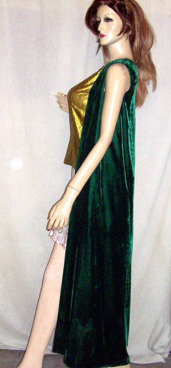 Vintage Green Velveteen Full Length Maxi Coat Vest L
