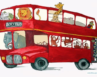 London bus with zoo animals