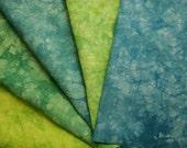 Blue Green Hemp Fabric Bundle, Hand Embroidery Fabric Appalachian Trail