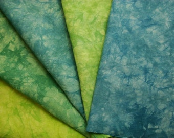 "Blue Green Hemp Fabric Bundle, Hand Embroidery Linen Material Appalachian Trail 14"" by 18"""