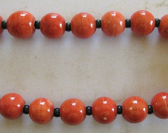 Red Orange Ceramic Beads with Onyx Beads necklace