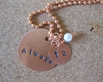 Hand Stamped Copper Necklace - Hunger Games Inspired