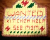 Wanted: Mother's Helper, Fridge Magnet with red lettering - Special Sale