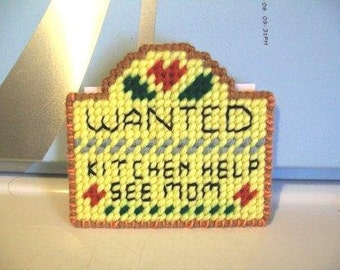 Wanted: Mother's Helper - Fridge Magnet with black lettering