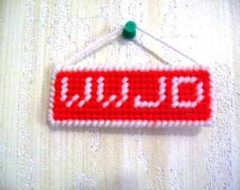 WWJD What Would Jesus Do? Hanging Mini-Sign, Plastic Canvas, Red