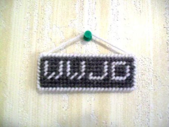 WWJD What Would Jesus Do? Hanging Mini-Sign, Plastic Canvas, Dk Gray