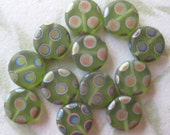 green peacock glass beads, ID1310