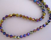 shimmering mix bi-cone firepolished beads, ID1417