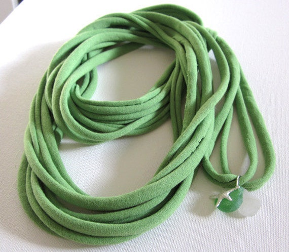 T Shirt Scarf Necklace with Seaglass