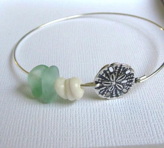 Seaglass Jewelry Sand Dollar  Beach Bangle