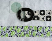 Fabric Belt, Womens belt Summer Blacks and whites and lime greens, s\/m
