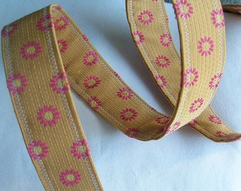 Sale, D Ring Belt, beautiful yellow and pink flower, S/M