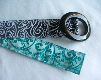 Women's belt, Reversible Belt, vibrant turquoise and black swirl, size S/M