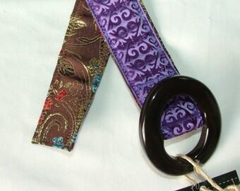Women's Belt, Reversible Belt,jacquard purple and a brown based floral , size M/L