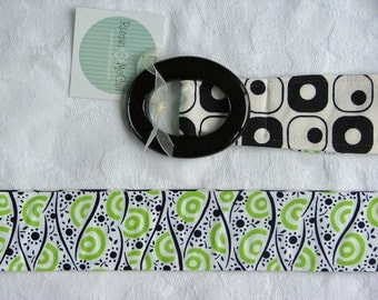 SALE< Fabric Belt, Womens belt Summer Blacks and whites and lime greens, s\/m