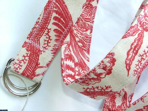 D Ring Belt, red toille,  M/L