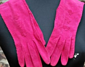 Vintage Fuchsia Long Stitched Gloves with Floral Details