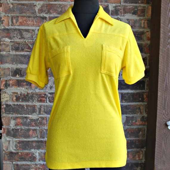 80's Neon Yellow Terry Cloth SHIRT New with Tags - S / M