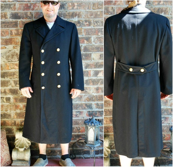 Men's US Naval Military Long Black Pea Coat with Gold