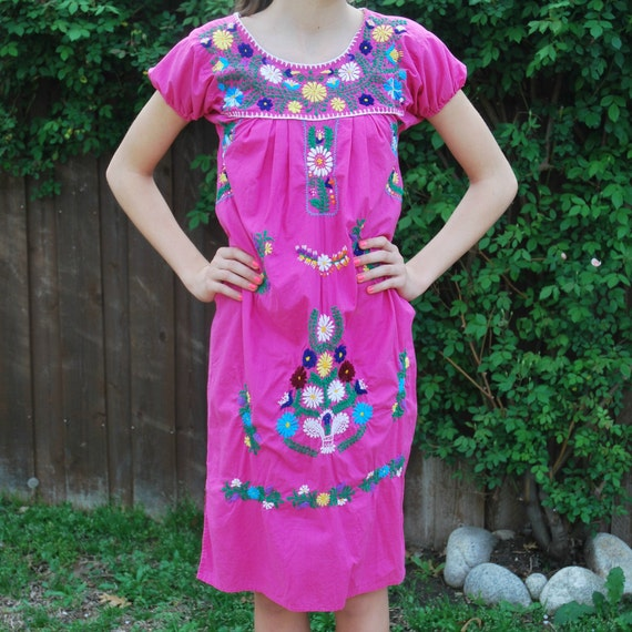 Mexican DRESS in Hot Pink with Embroidered Flowers