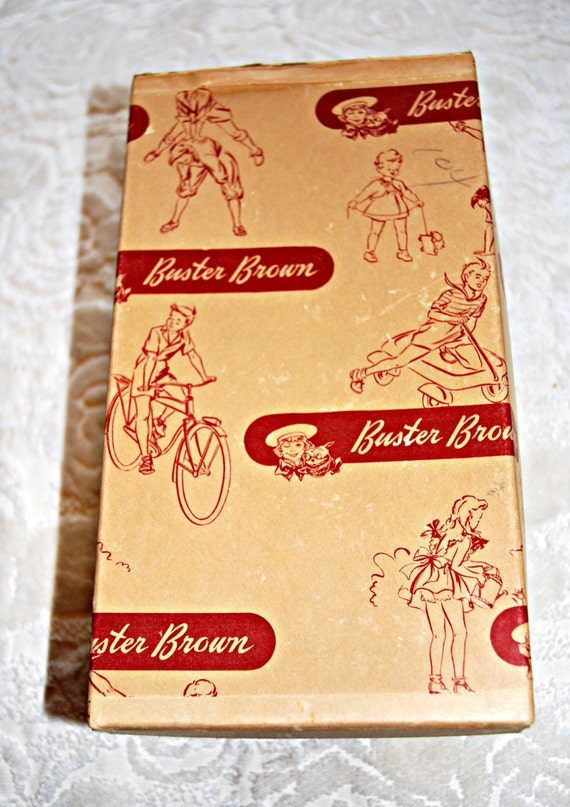 Vintage Buster Brown Kids Sz 8 Leather Saddle Shoes From