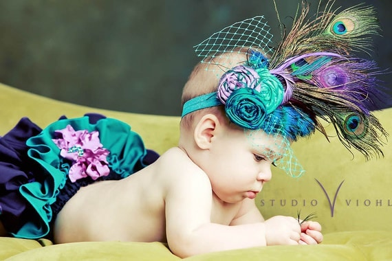 The Royal Collection -' Princess Daisy's Peacock '-Fancy Pants Ruffled Diaper Cover with Matching Vintage Inspired Headpiece-PHOTO PROP