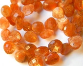 Shimmering Sunstone 7MM X 7MM Faceted Heart Briolettes--- 10 Stones - Semi Precious Stones - Gemstone Beads - Reduced From 17.70