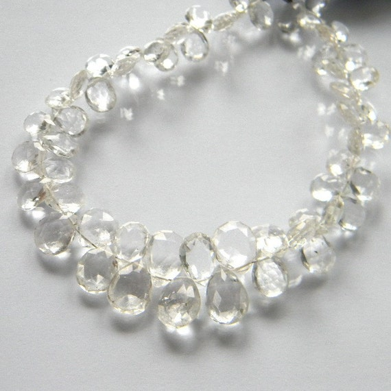 Crystal Quartz 11MM X 8MM Faceted Teardrop Briolettes---Half Strand