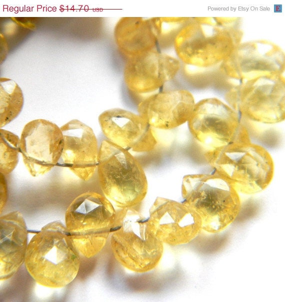 35% SALE --- Rare Yellow Aquamarine 6MM X 4Mm Faceted Teardrop Briolettes --- Partial Strand