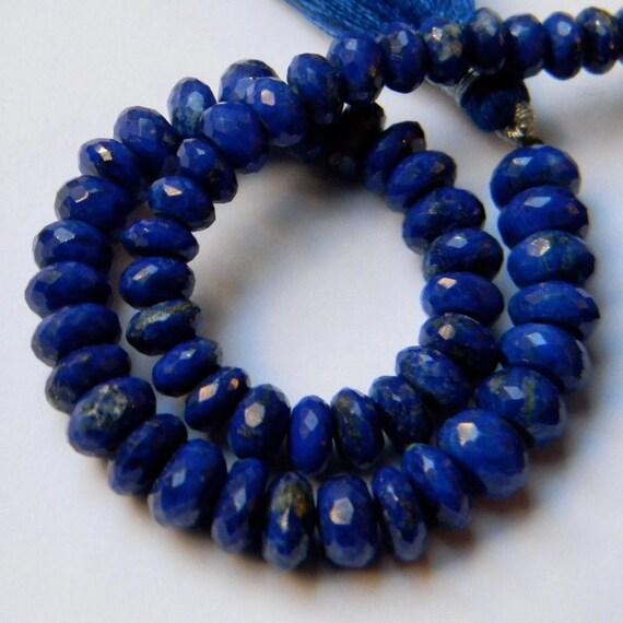 Cobalt Blue Lapis 6MM Faceted Rondells --- 12 Stones --- Partial  Strand - Beads - Semiprecious Stones - Gemstone Beads