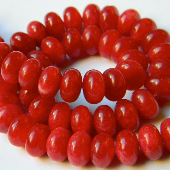 Apple Red Jade 10MM Smooth Polished Rondells --- Beads --- Full Strand - Reduced From 17.70