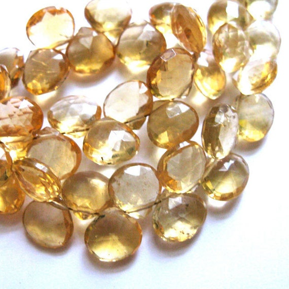 Golden Citrine  9MM X 9MM Faceted Heart Briolettes --- 10 Stones - Semiprecious Stones - Gemstone Beads - Reduced From 21.60