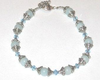 Light Bue Stone Bracelet with Swarovski Crystals - Airy Blue 138