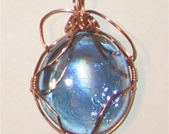 Blue Glass  Bead Wire Wrapped in Copper Pendant - 1213