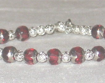 Ruby Red and Silver Beaded Bracelet - 288