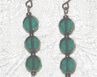 Emerald Green and Copper Earrings - 469